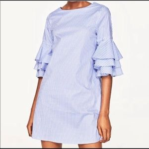 Zara Pinstriped Dress W/ Ruffle Sleeves Size Med